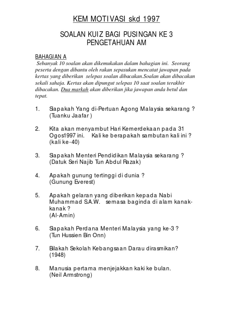 Contoh Soalan Kuiz Kemerdekaan Dan Jawapan Jalan Moren