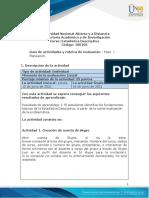 Guía de actividades y rúbrica de Evaluación - Paso 1 - Planeación