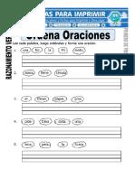 Ficha de Ordenar Oraciones Para Primero de Primaria
