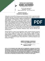 Coker's Property -  Notice of Sale of Guns,etc