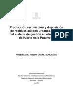 Producción, Recolección y Disposición de Residuos Sólidos Urbanos, Análisis Del Sistema de Gestión en El Municipio de Puerto Asís Putumayo