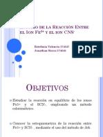 Estudio de la Reacción Entre el Ion Fe3
