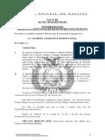 Ley 091 Se autoriza al Min. de Economia el traspaso de fondos al Min. de Deportes para cubrir costos de prestacion de servicios de salud, reparaciones y costas en los casos Ticona Estrada y Otros, Ibsen Cardenas e