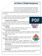 Factor affecting & Values of Weight Management
