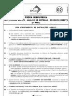 PROVA DISCURSIVA DE ANALISE DE SISTEMAS - DESENVOLVIMENTO