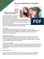10 Cosas Que No Debe Hacer en Facebook..