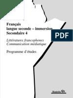 Manitoba Francais Langue Seconde-immersion Secondaire 4