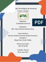 Tarea Ejercicio Análisis horizontal estados financieros_Contabilidad Gerencial_Miguel Erazo_UTH Juticalpa - copia