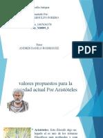 Aristoteles y los valores propuestos para la sociedad actual