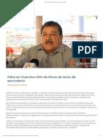 30/08/2019 Falta en Guerrero 40% de Libros de Texto de Secundaria
