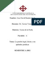 Teoría de la Prueba.- Diferencias entre Prueba Legal e Ilícita
