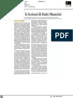 Hegel e le lezioni di Italo Mancini - Italia oggi del 14 giugno 2021