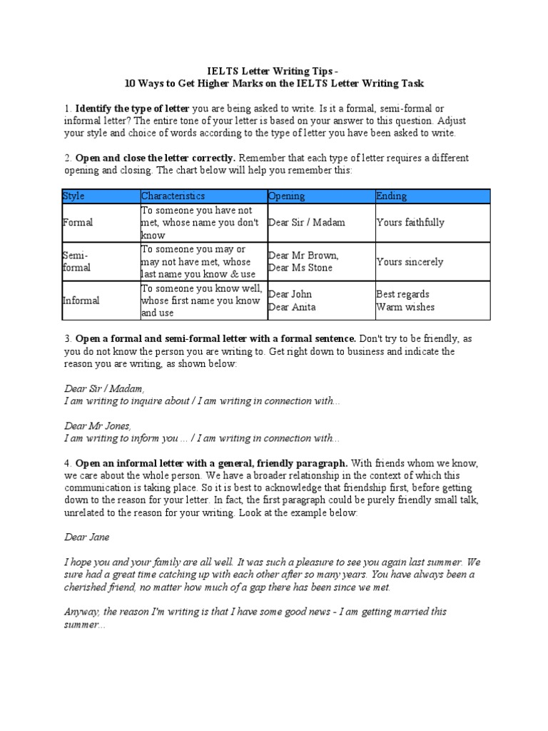Ielts Letter Writing Tips International English Language Testing System Question