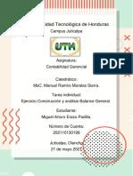 Tarea Ejercicio Construcción y Análisis Balance General_Contabilidad Gerencial_Miguel Erazo_UTH Juticalpa