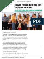 30/08/2019 Astudillo inaugura Jardín de Niños con 5 mdp de inversión