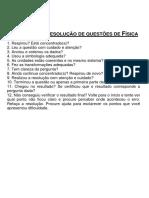 Check-list de Resolução de Questões de Física