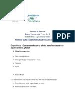 Roteiro experimental PRP Efeito Estufa e Aquecimento Global 1