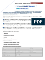 Resumen Patologías Vestibulares y Laberintología
