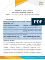 Syllabus del curso Construcción de subjetividades