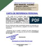 FORMATO MODELO EJEMPLO CARTA DE REFERENCIA PERSONAL