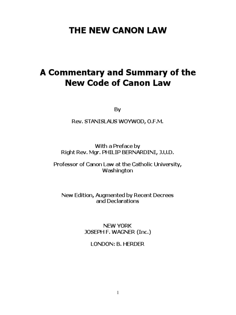Commentary of the New Code of Canon Law | Catholic Church