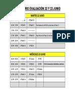Calendario Definitivo Evaluaciones 22 y 23 Junio