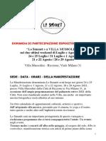 Domanda Di Partecipazione Espositori Artigiani 2021