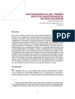 REVISIÓN HISTORIOGRÁFICA DEL PRIMER GRITO DE INDEPENDENCIA EN SAN SALVADOR Adolfo Bonilla Bonilla