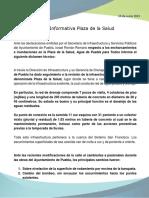 Nota Informativa Plaza de La Salud