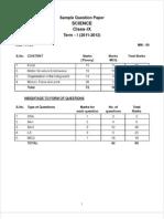 SQP- Science class IX Term-I