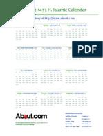 ISLAMIC Calendar1432-2011A4