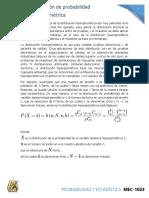 3.5 Distribucion de probabilidad Hipergeometrica