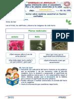 Semana 9-Dia 3 Leemos Textos Sobre Medicina Ancestral en Fuentes Confiables