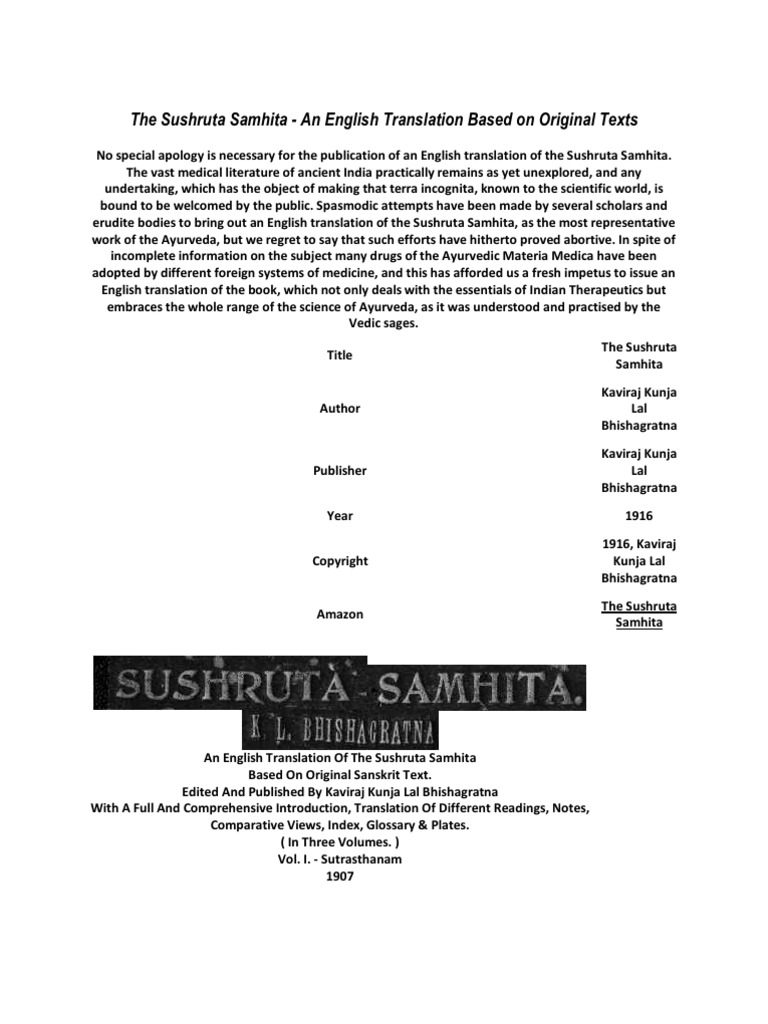 The Sushruta Samhita   Ayurveda   Vedas