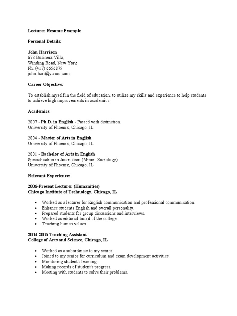 Lecturer Resume Example College Curriculum