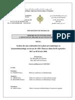 Gestion Des Non Conformites de La Phase Pre Analytique en Immunohematologie Au Niveau de CHU Tlemcen Allant Du 05 Septembre 2017 Au 05 Fevrier 2018