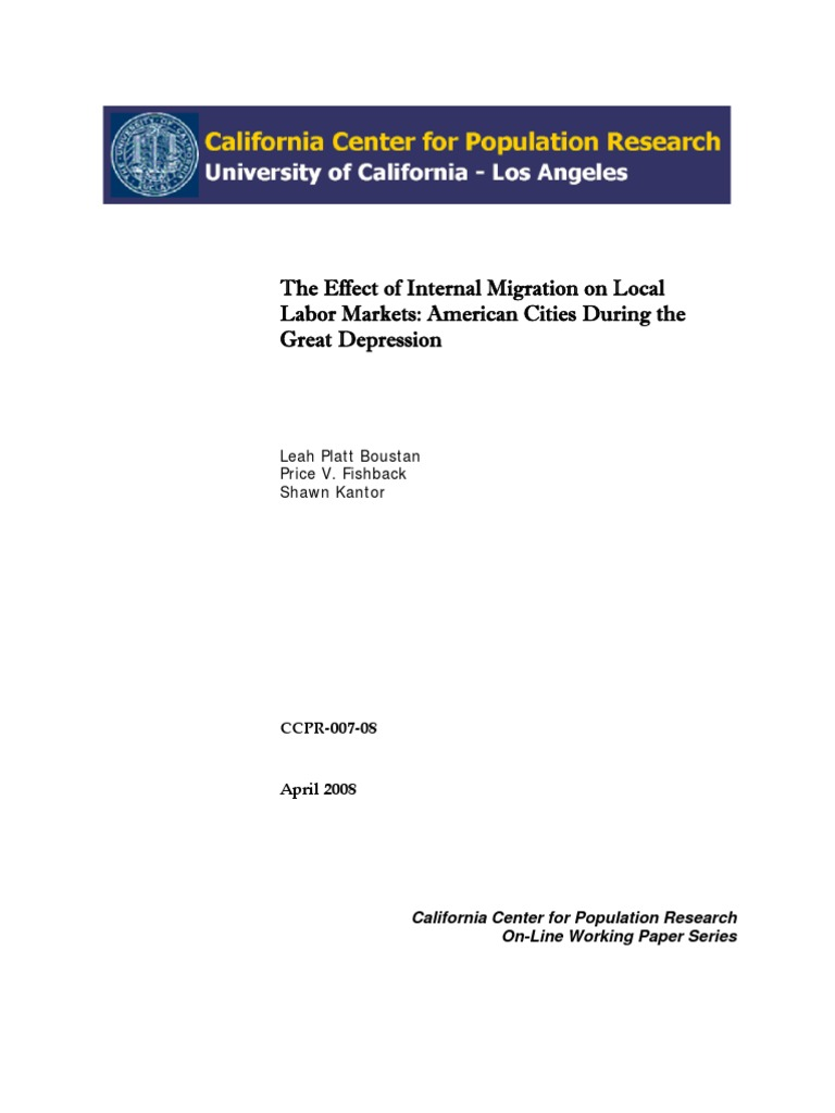 The Effect of Internal Migration on Local Labor Markets ...