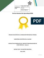 Instructivo Propouesta de Proyecto EJECUCIÓN
