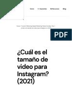 ¿Cuál Es El Tamaño de Video Para Instagram_ (2021)