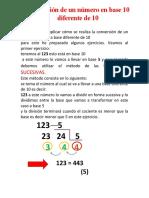 conversión de un número base 10 a base diferente de 10
