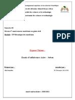Essais d'Adhérence Acier – Béton