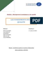RAPPORT FONDEMENTS DE LA QUALITE