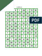 Bingo Com Números Inteiros - Cartelas