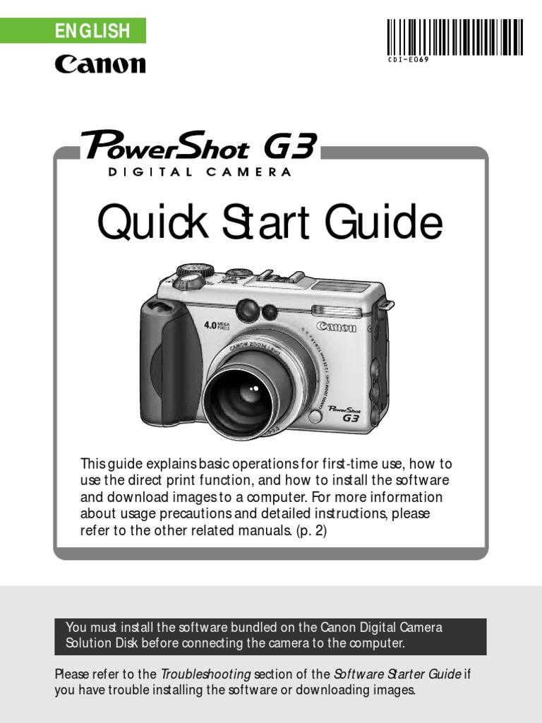 canon powershot g3 quick start guide microsoft windows rh es scribd com Canon PowerShot G1 Canon PowerShot G1