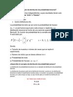 Desarrollar el concepto de distribución de probabilidad binomial