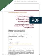 De las interpelaciones por transparencia u opacidad_ La atención a las diversidades sexo-genéricas en Quito