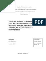 TECNICAS PARA LA COMPRENSION Y ANALISIS DE CONTENIDO
