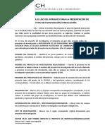INSTRUCTIVO PARA EL USO DEL FORMATO PARA LA PRESENTACI--N DE PROYECTOS DE INVESTIGACI--N Y VINCULACI--N