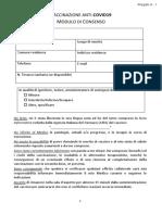 Modulo unificato consenso informato vaccinazione anti Covid-19