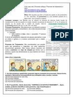 Atividades não presenciais de Língua Portuquesa Pronomes 7ºano